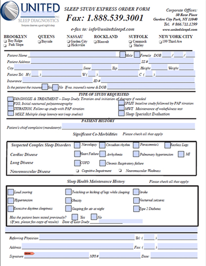 Physician's Sleep Study Request Form
